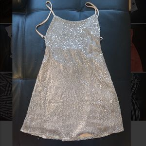 Nasty Gal Silver Sequin Dress